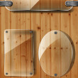 Stock Vector: Transparency plates on wooden background