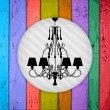 Silhouette of luxury chandelier on a Colorful Vector Wooden Plan - Stockvektor