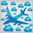 图库矢量图片: Transparency Four-engine jet airliner in air with blue cloud