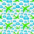 Airplanes in the air with blue clouds Seamless vector pattern — Imagens vectoriais em stock