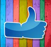 """""""me gusta"""" símbolo en un colorido fondo rayados de madera — Vector de stock"""