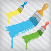 Flat brushes with paint's splashes over a stripped background — Stock Vector