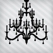 Silhouette of luxury chandelier on a stripped background — Stock Vector