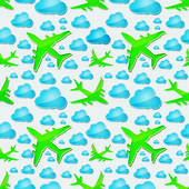 Airplanes in the air with blue clouds Seamless vector pattern — Stock Vector
