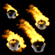 Foto Stock: Flying soccer ball in fire