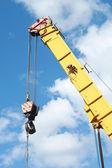 Crane Hook on a blue sky — Stock Photo