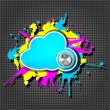 Cute grunge cloud computing icon frame with chrome volume on the — Stockvektor