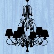 Royalty-Free Stock Vector Image: Silhouette of luxury chandelier on a scratched green wallpaper