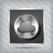 Metallic icon with chrome volume knob and cloud on the striped b — Stock Vector