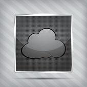 Icono metálico con nubes en el fondo rayados — Vector de stock