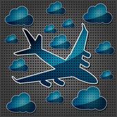 Cuatro motores de avión en el aire con las nubes sobre transparencia — Vector de stock