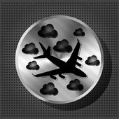 Chrome volume knob with airplane and clouds on the metallic back — Vector de stock