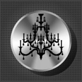 Chrome volume knob with silhouette of luxury chandelier on the m — Stock Vector