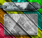 Transparency plates on a colorful wooden planks — Stock Vector