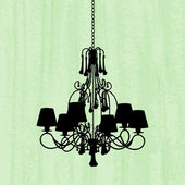 Silhouette of luxury chandelier on a scratched green wallpaper — Stock Vector