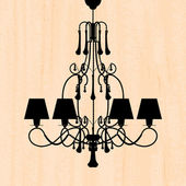 Silhouette of luxury chandelier on a scratched peachy wallpaper — Stock Vector