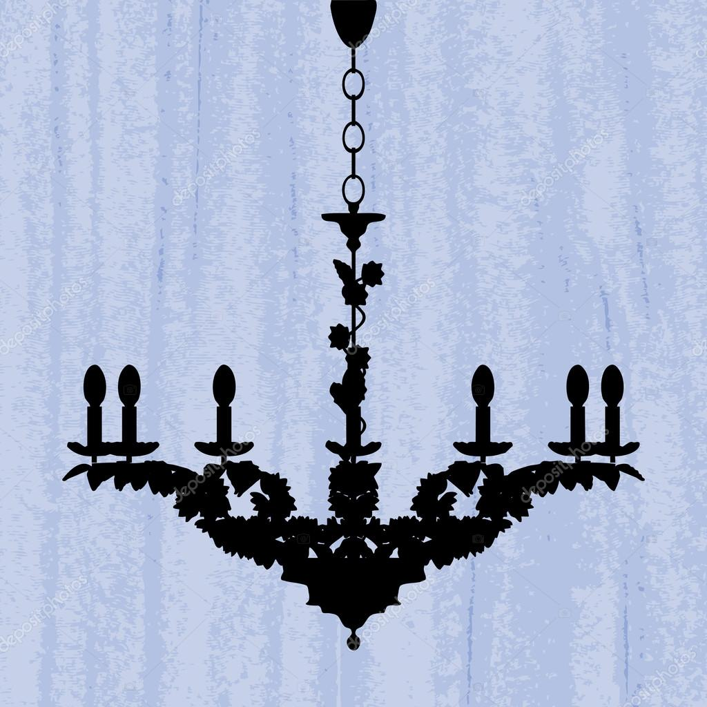 Silhouette of luxury chandelier on a scratched blue wallpaper  Stock Vector #15640231