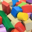 Stack of colorful wooden building blocks — 图库照片