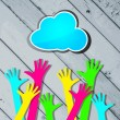 Happy colorful hands with blue cloud on a striped wooden backgro — Stock Vector