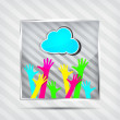 Stock Vector: Icon with happy hands and blue cloud on the striped background