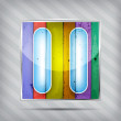 Colorful wooden pause icon on the striped background — Stock vektor