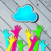 Manos felices coloridas con nube azul en un centrico de madera rayada — Vector de stock