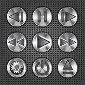 Set of stylish vector multimedia metallic knob buttons — Stock Vector