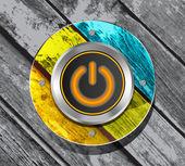 Icône bouton électrique orange sur le backgrou rayé en bois coloré — Vecteur