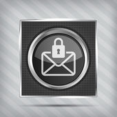 Email with padlock button icon on the metallic background — Stock Vector
