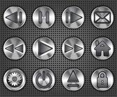 Set of stylish multimedia metallic knob buttons — Stock Vector
