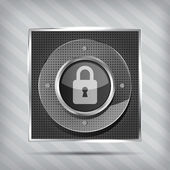 Padlock icon on the striped background — Stock Vector