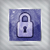 Padlock on the finger print background — Stock Vector