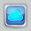 图库矢量图片: Icon with cloud on striped background