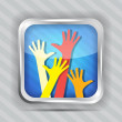 图库矢量图片: Happy hands icon on striped background