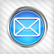 Blue email button icon on mettalic background — Vector de stock #23814137