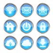 Set of blue web icons on a white background - Stock Vector