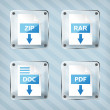 Set of glass rar, zip, doc and pdf download icons on a striped b - Stockvektor