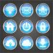 Set of blue web icons on a metallic background - Stockvektor