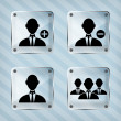 Glass group of businessman icon on a striped background - Grafika wektorowa