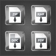 Set of transparency rar, zip, doc and pdf download icons on a me — Stock Vector