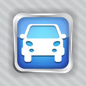 Blue car button icon — Stock Vector