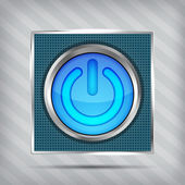 Blue power button icon on the striped background — Stock Vector