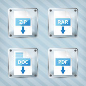 Set of glass rar, zip, doc and pdf download icons on a striped b — Stock Vector