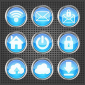 Set of blue web icons on a metallic background — Stock Vector