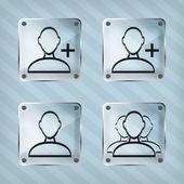 Aggiungere, rimuovere e utente icone di gruppo su uno sfondo a righe — Vettoriale Stock