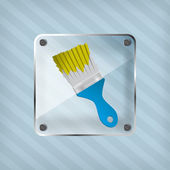 ícone de transparência com pincel sobre um fundo listrado — Vetorial Stock