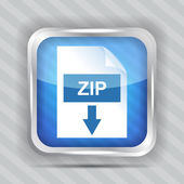 Blue zip download icon on a striped background — Stock Vector