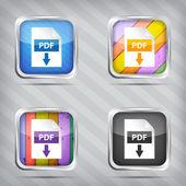 Zbiór pdf pobierz ikony na tle pasiasty — Wektor stockowy