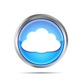 Blue icon with cloud on a white background — Stock Vector