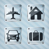 Set of transparency travel pointer icons on a striped background — Stock Vector